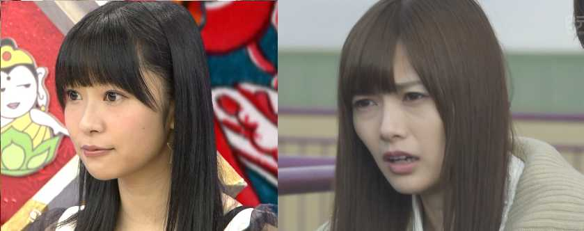 Left: Shiraishi Mai. Right: Sashihara Rino